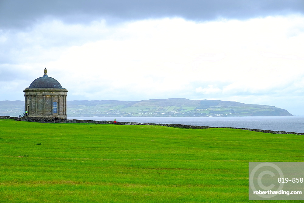 Mussenden Temple is a small circular building located on cliffs near Castlerock in County Londonderry, Northern Ireland