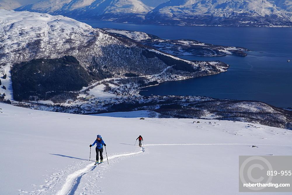 Ski touring in the Lyngen Alps, Lyngseidet, Lyngen peninsula, Troms County, Norway, Europe