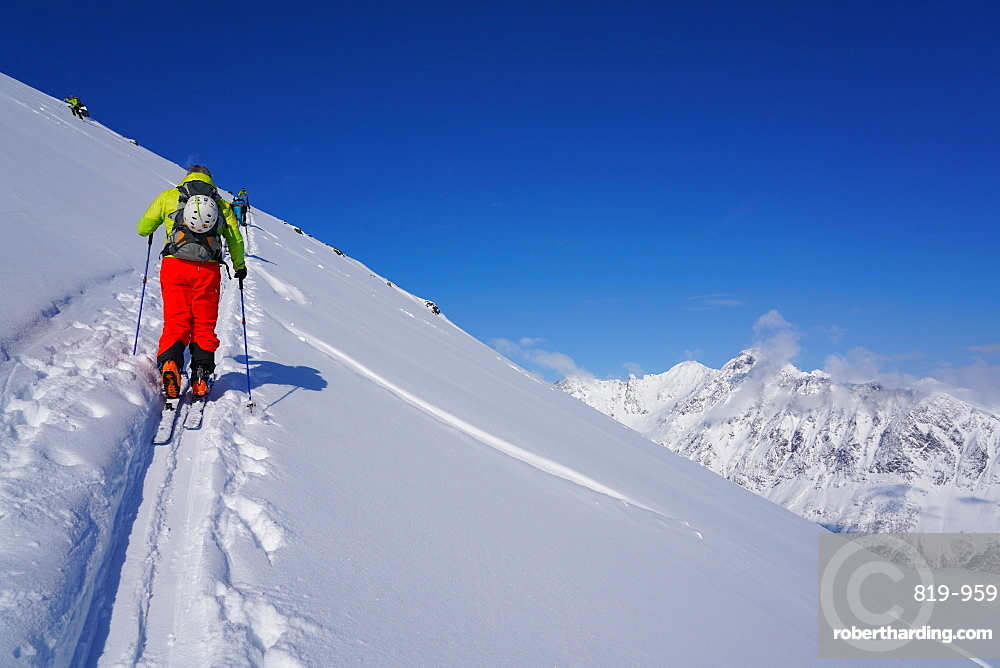 Ski touring in the Lyngen Alps, Lyngen peninsula, Troms County, Norway, Europe
