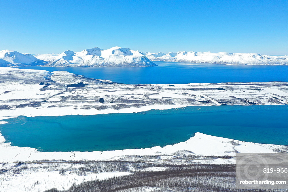 Drone view of Nordlenangen, Lyngen peninsula, Troms County, Norway, Scandinavia, Europe