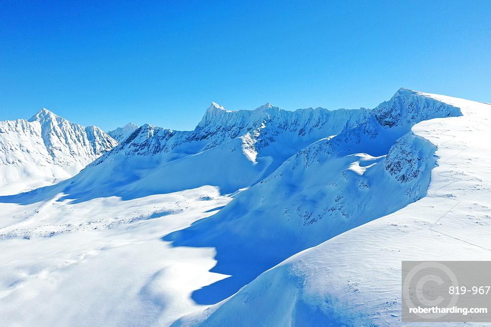 Drone view of Lyngen Alps, Nordlenangen, Lyngen peninsula, Troms County, Norway, Scandinavia, Europe