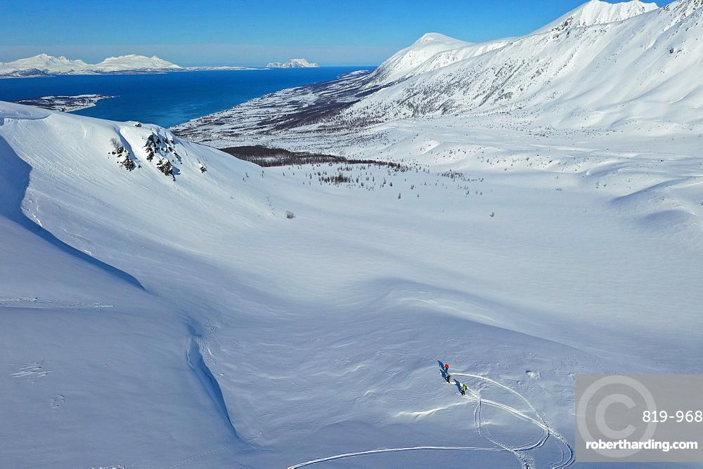 Lyngen Alps, Nordlenangen, Lyngen peninsula, Troms county, Norway, Europe (drone)