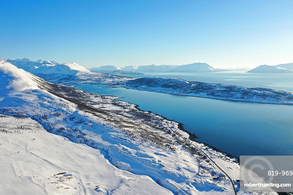 Nordlenangen, Lyngen peninsula, Troms county, Norway, Europe (drone)