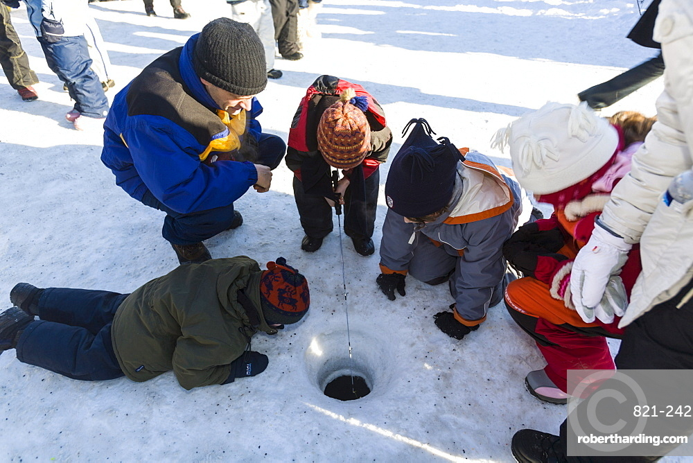 Ice fishing, Quebec Winter Carnival, Quebec City, Quebec, Canada, North America
