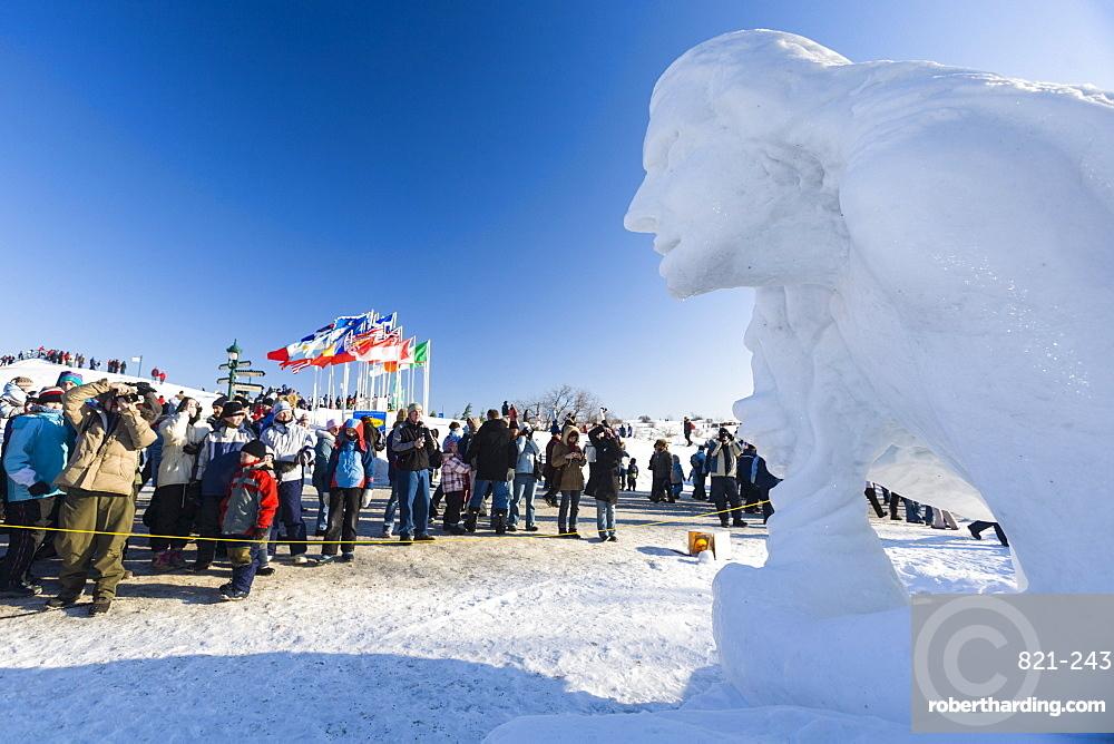 Ice sculpture, Quebec Winter Carnival, Quebec City, Quebec, Canada, North America