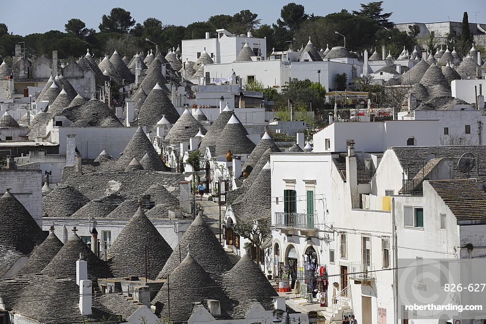 Cone-roofed trulli houses on the Rione Monte district, UNESCO World Heritage Site, Alberobello, Apulia, Italy, Europe