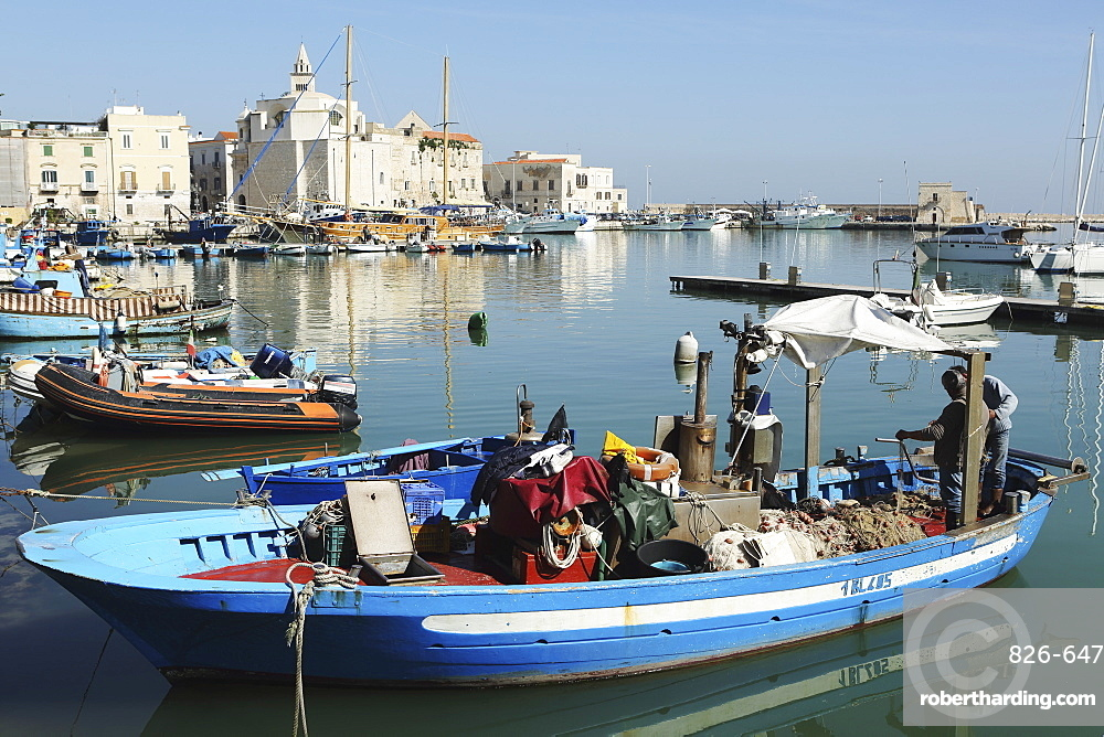 A fishing boat in the harbour by the cathedral of St. Nicholas the Pilgrim (San Nicola Pellegrino) in Trani, Apulia, Italy, Europe