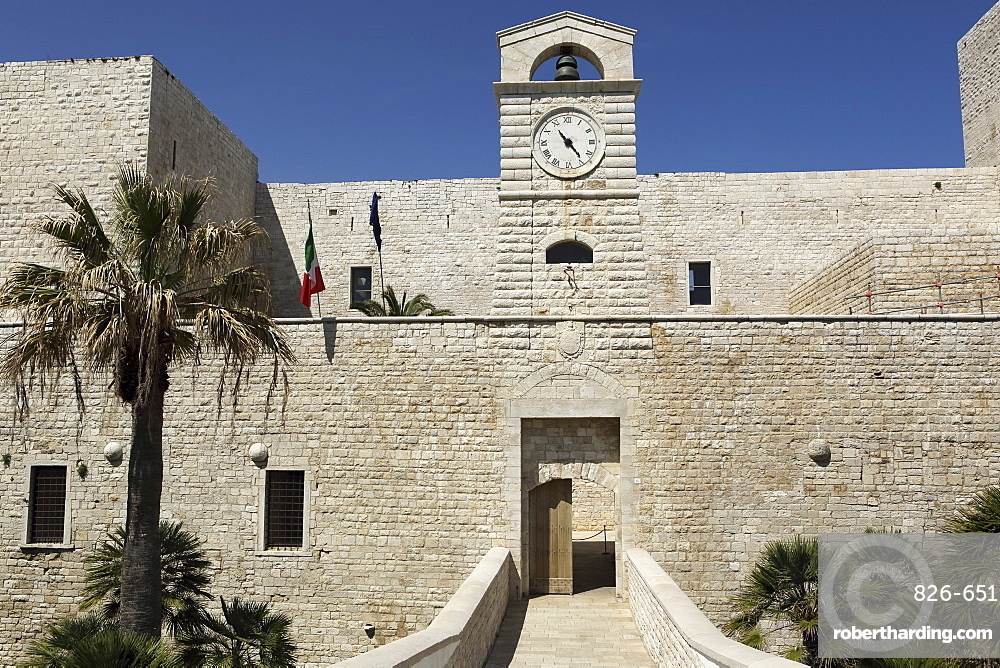The gate of Castello Svevi, the 13th century castle built for King Frederick II, the Holy Roman Emperor, in Trani, Apulia, Italy, Europe