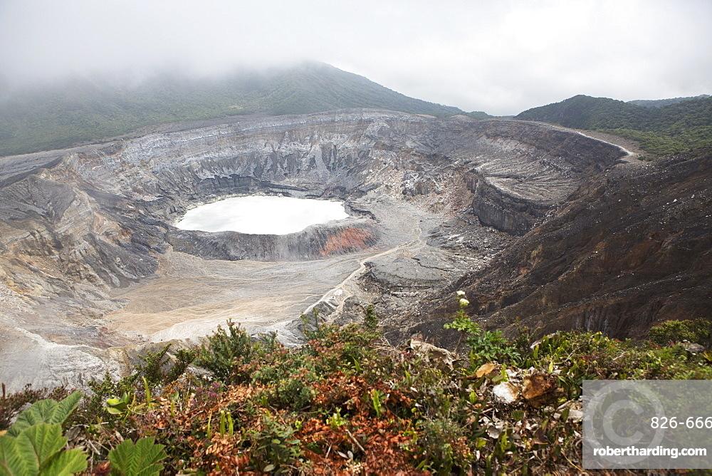 Crater of Poas Volcano in Poas Volcano National Park, in the Cordillera Central mountain range of Costa Rica, Central America