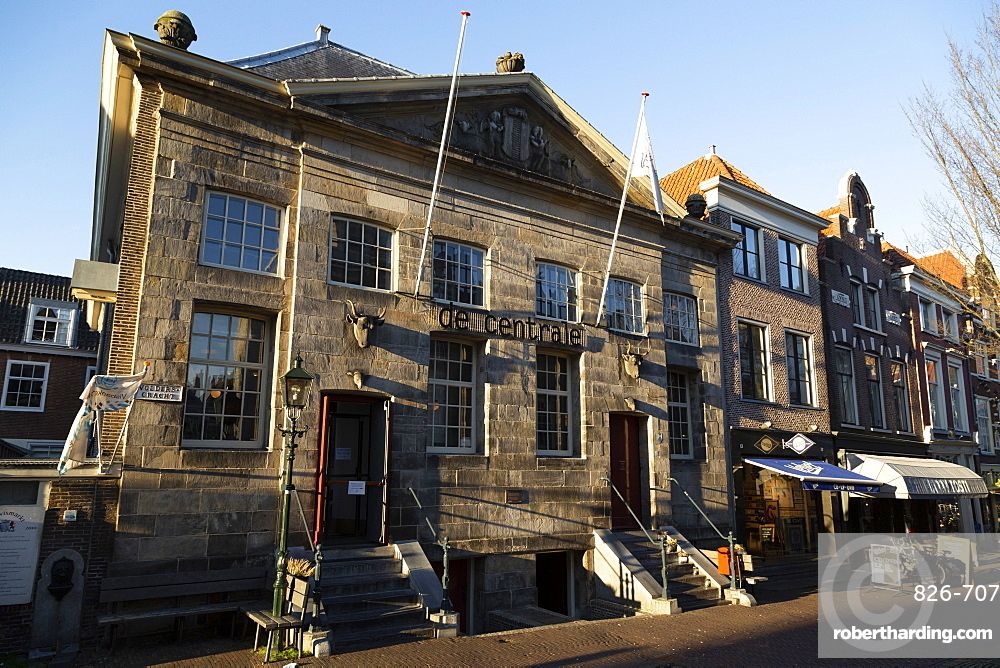 Historic facade of the butcher's hall, now De Centrale, on Voldergracht in Delft, South Holland, The Netherlands, Europe