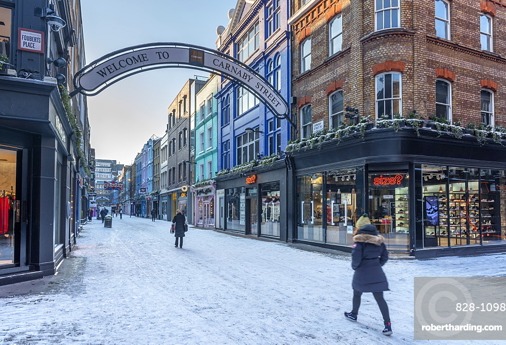 Carnaby Street in winter, The West End, London, England, United Kingdom, Europe