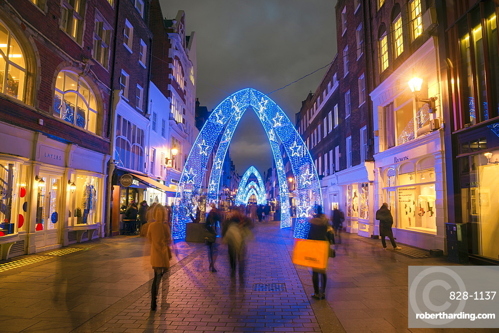 Christmas decorations, South Molton Street, off Oxford Street, West End, London, England, United Kingdom, Europe