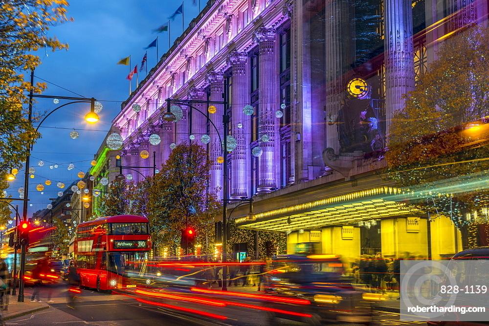 Selfridge's Department Store, Christmas Lights, Oxford Street, The West End, London, England, United Kingdom, Europe