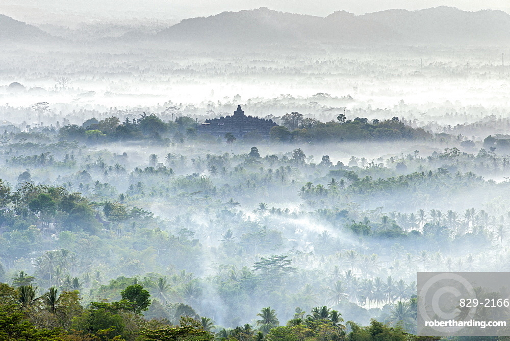 Dawn view of Borobodur, a 9th-century Buddhist Temple in Magelang, near Yogyakarta in central Java, Indonesia.