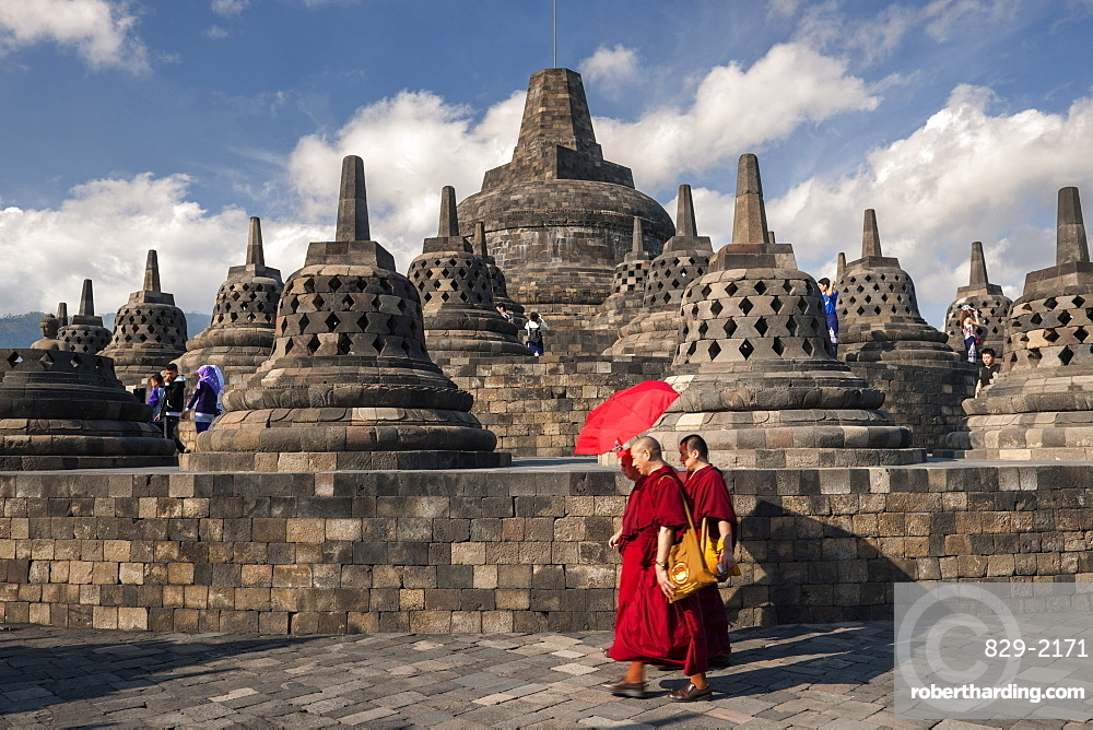Stupa (bell-shaped ornaments) of Borobodur, a 9th-century Buddhist Temple near Yogyakarta in central Java, Indonesia.