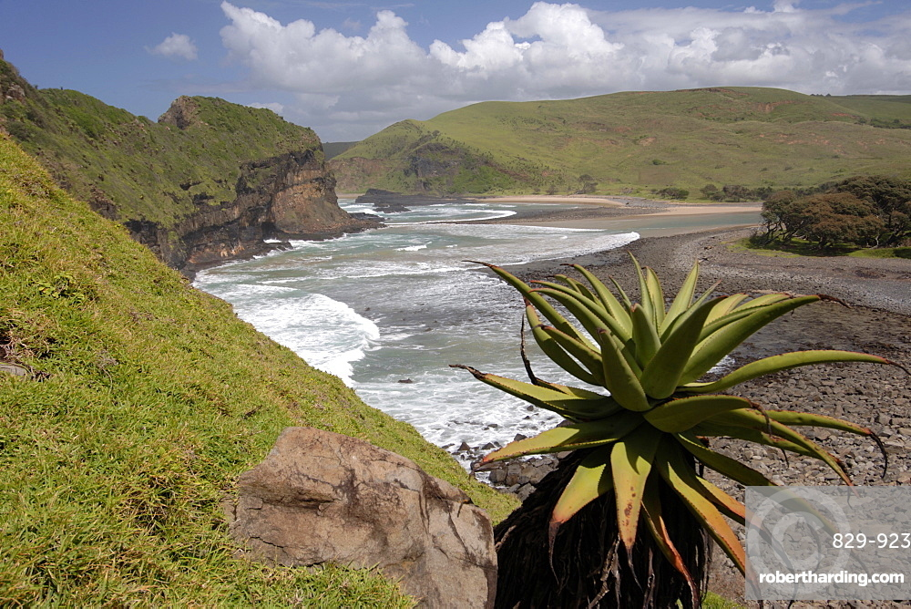 View of Hole in the Wall and surrounding landscape along the wild coast in a region of South Africa's Eastern Cape Province formerly known as the Transkei.