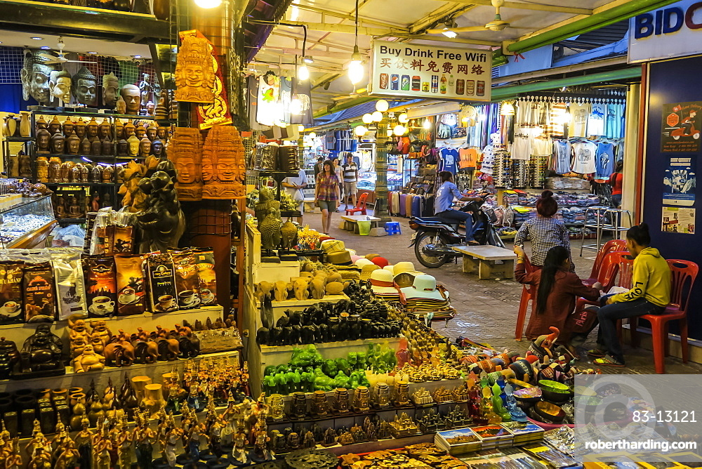 Stalls of tourist souvenirs in the Art Center Night Market in the centre of this important NW tourist town, Siem Reap, Cambodia, Indochina, Southeast Asia, Asia