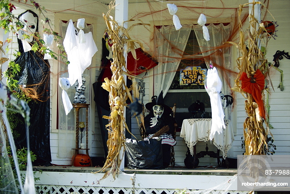 Halloween house decorations, New Baltimore, Michigan, United States of America, North America