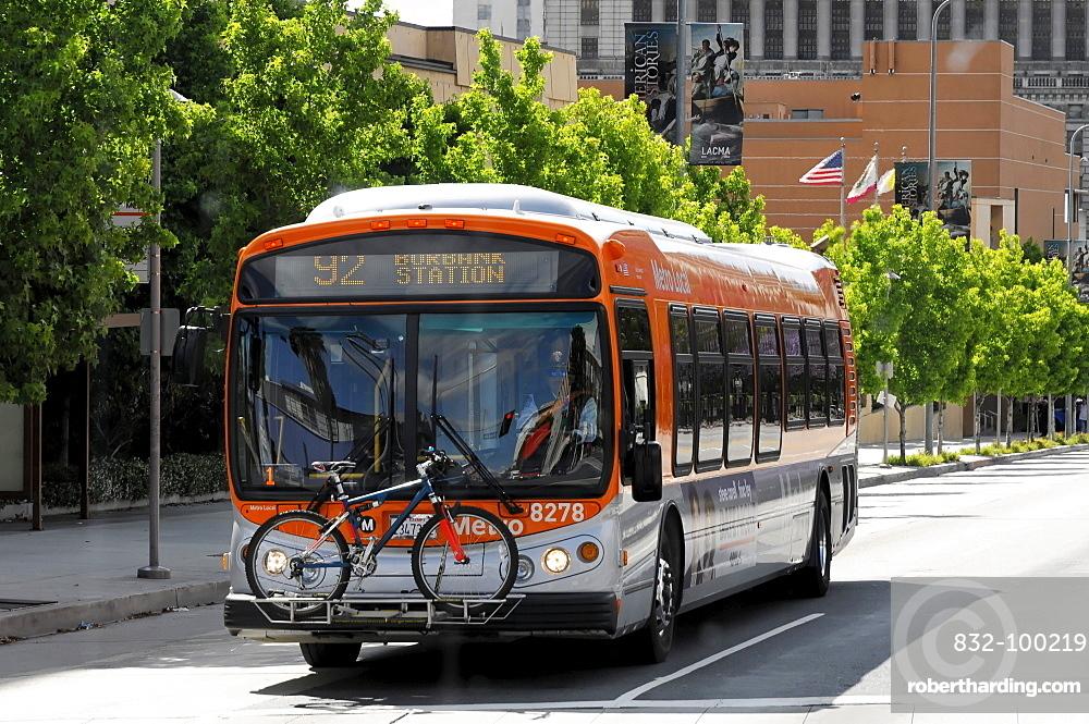 Bus, near Walt Disney Concert hall, Los Angeles, California USA, North America