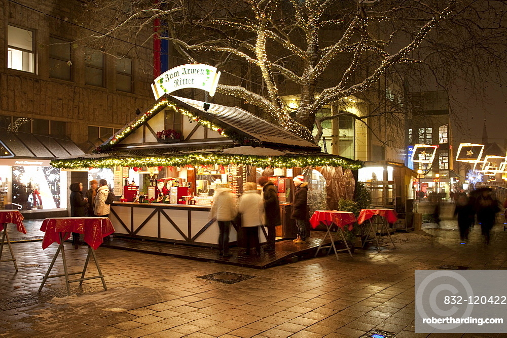 Mulled Wine Christmas Market.Stand Selling Mulled Wine Christmas Stock Photo