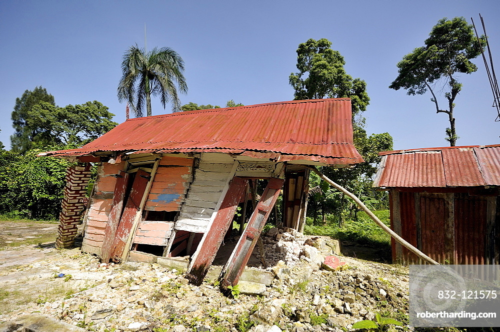 A traditional half-timbered house that was completely destroyed by the January 2010 earthquake, Jacmel, Haiti, Caribbean, Central America