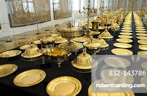 Gilt table ware of King Max I. Josef, Muenchner Residenz royal palace, home of the Wittelsbach regents until 1918, Munich, Bavaria, Germany, Europe