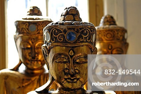 Heads of Asian temple guardians in front of a window, Freiburg, Baden-Wuerttemberg, Germany, Europe