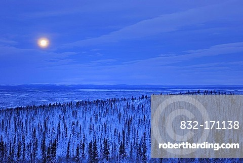 Moon above the Sjaunja Nature Reserve, World Heritage Laponia, Lapland, Norrbotten, Sweden, Scandinavia, Europe