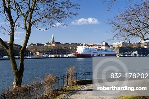 Ferry Viking Line at the Saltsjoen off Soedermalm, Stockholm, Sweden, Scandinavia, Europe