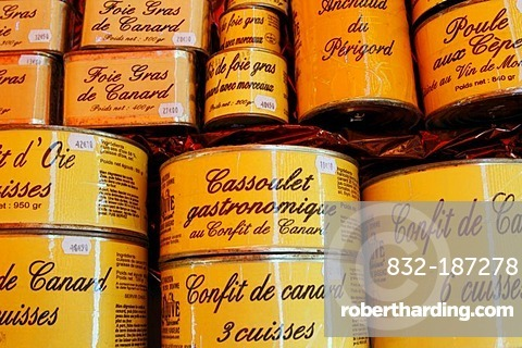 Confit and foie gras, Domme fortress, Dordogne, Aquitaine, France, Europe