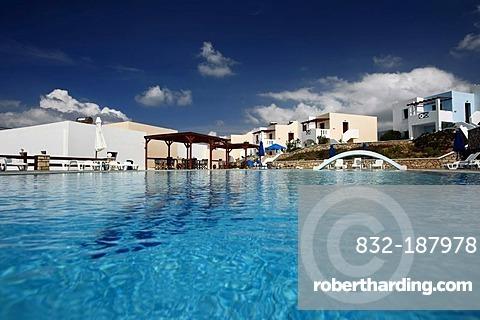 Swimming pool, hotel complex, island of Karpathos, Aegean Islands, Aegean Sea, Greece, Europe