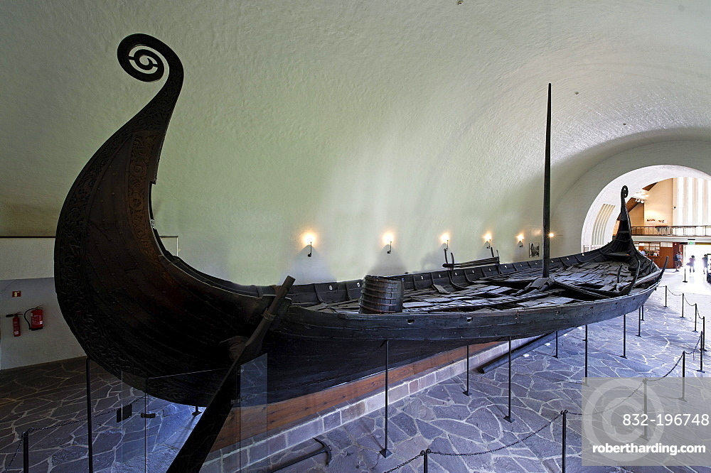 Oseberg shop, found 1904 in Vestfold, from 814-819, hall of the Viking ship hall Vikingskiphuset, Bygdoy, Oslo, Norway, Scandinavia, Europe