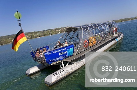 Solar-powered ferry heading towards Gaienhofen, near Steckborn, Untersee, Lake Constance, Switzerland, Europe