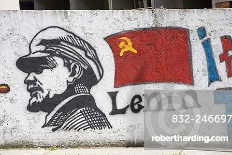 Lenin with Soviet flag, graffiti, Merida, Venezuela, South America