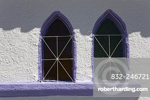 Window, chapel at the Paso del Condor, the highest pass in Venezuela at 4118m high, the Andies, Venezuela, South America