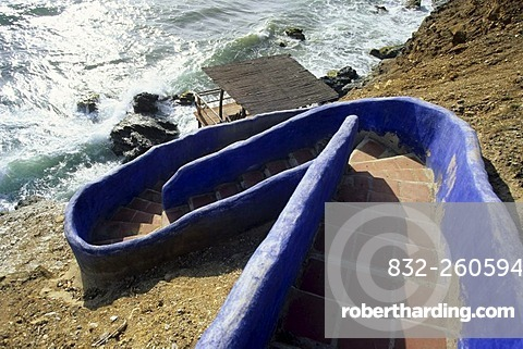 Blue stairs towards the water, Caribbean Sea, near Guarame, Isla de Margarita, The Caribbean, Venezuela, South America