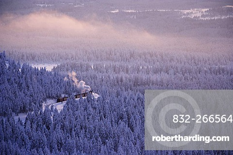 View from the Brocken mountain over a winter landscape deeply covered in snow at sunset and the Harzer Schmalspurbahn, narrow-gauge railway with steam engine, Saxony-Anhalt, Germany