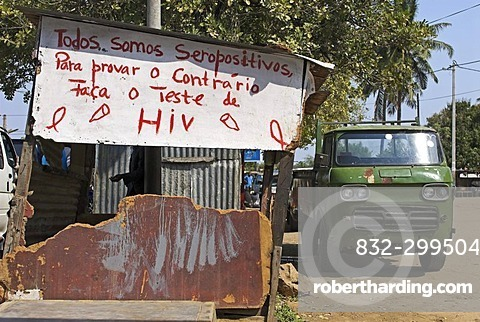 Graffiti calling to aids test, Maputo, Mozambique, Africa