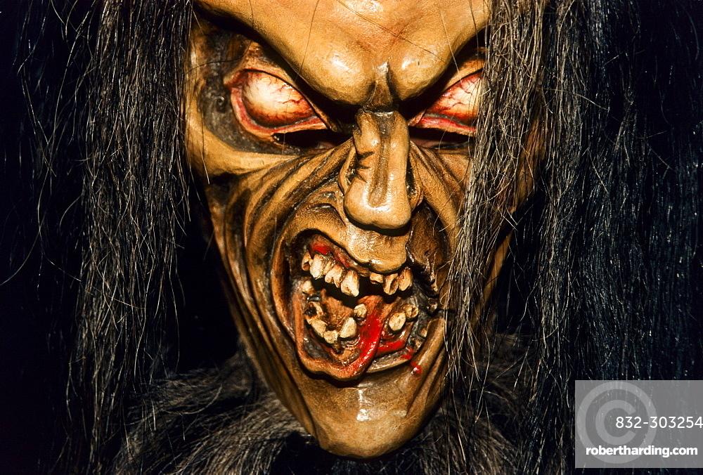 Krampus Or Devil Mask Carved Stock Photo