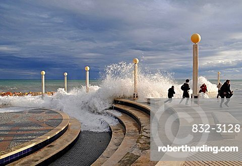 People, storm, promenade, storm flood, waves, flood, Altea, Alicante province, Costa Blanca, Spain, Europe