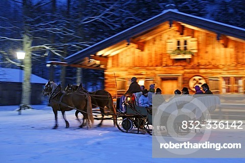 Horse drawn sleigh in Rottach-Egern, Upper Bavaria, Germany