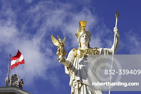 Statue of Pallas Athene in front of the austrian parlament in Vienna, Austria