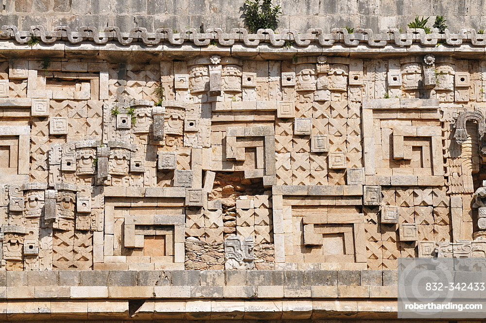 Detail, The Governor's Palace, Mayan excavation site, Uxmal, Yucatan, Mexico, Central America