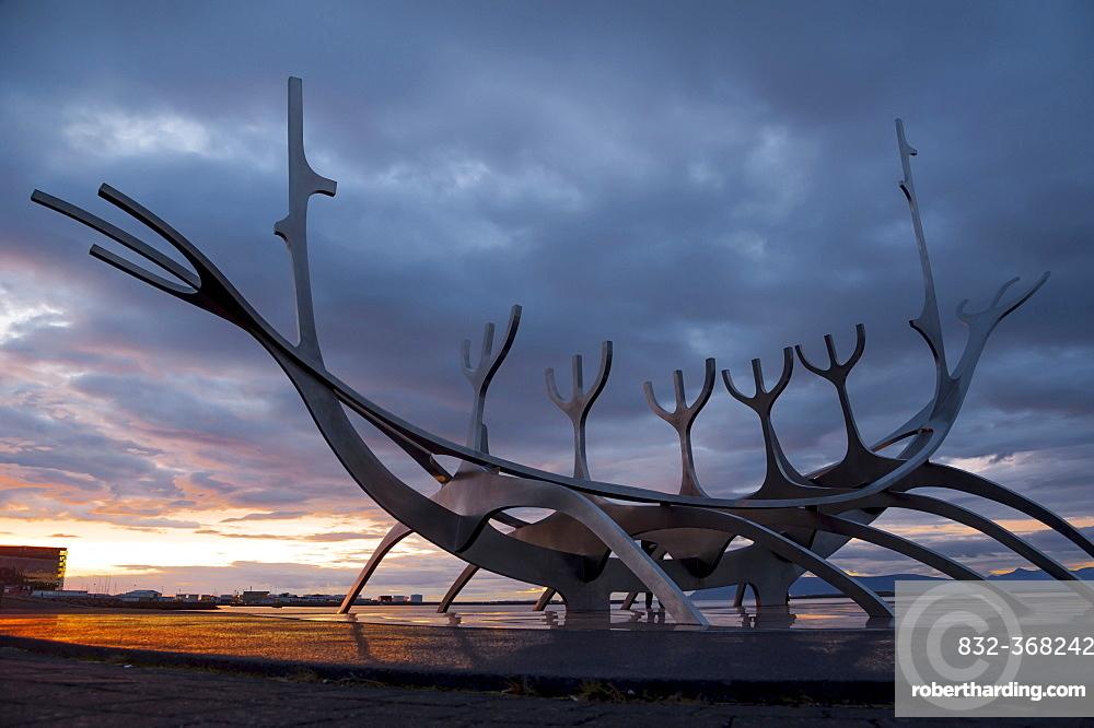 Viking ship sculpture, memorial to Sólfar, the Sun Voyager, Reykjavik, Iceland, Europe