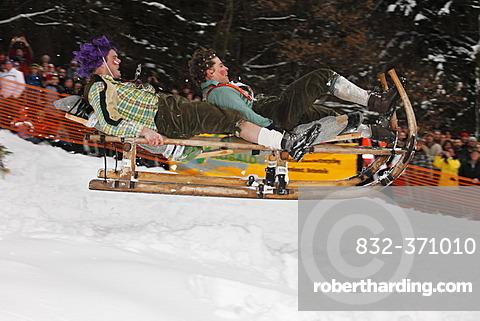 Gaissach schnabler and sled race, carnival custom, Gaissach, Isarwinkel, Upper Bavaria, Bavaria, Germany, Europe