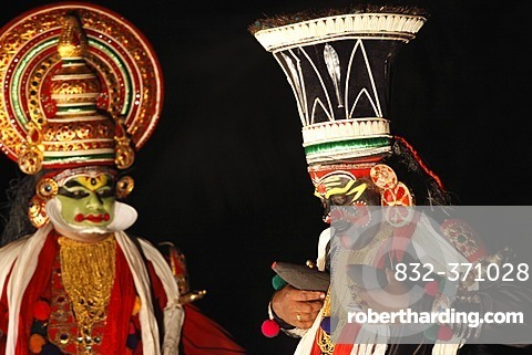 Kathakali dance, Chuvanna Thaadi character,   Stock Photo