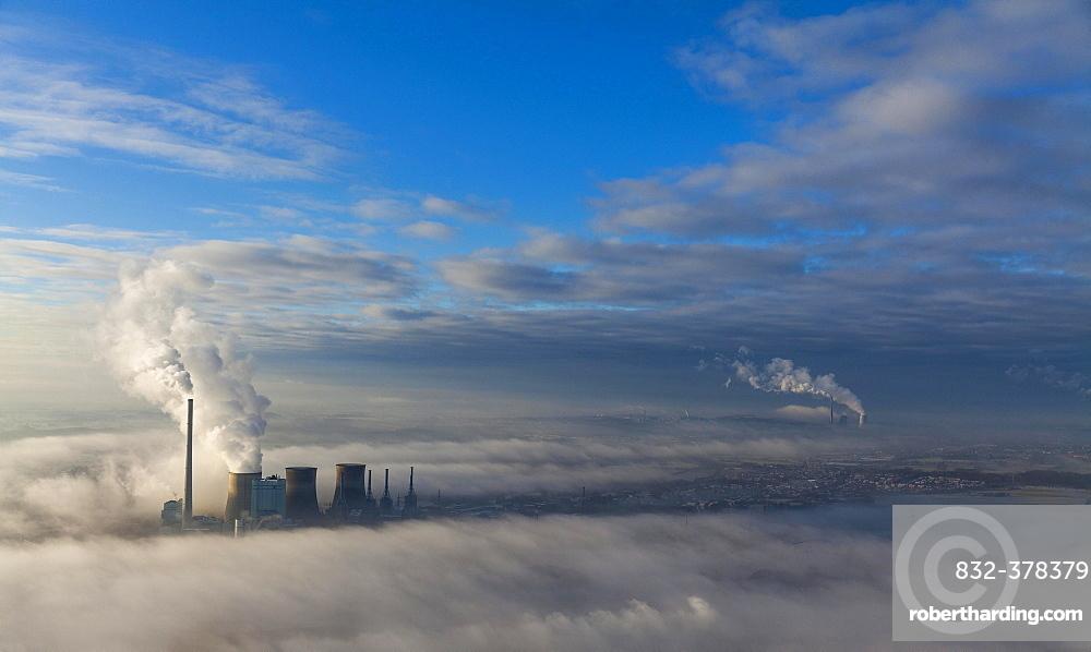 Aerial view, low clouds, Gersteinwerk of RWE Power, coal-fired power plant, temperature inversion, Bockum-Hövel, Hamm, Ruhr Area, North Rhine-Westphalia, Germany, Europe