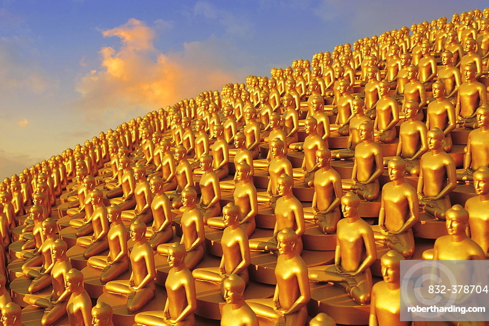 Small golden Dhammakaya Buddha statues at the Chedi, Buddhist temple Wat Phra Dhammakaya, Mahadhammakaya Cetiya, Khlong Luang District, Pathum Thani, Bangkok, Thailand, Asia