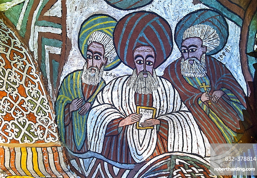 The Saints Isaac, Abraham and Jacob, fresco in the Orthodox rock church Abuna Yemata Guh, Gheralta region, Tigray, Ethiopia, Africa