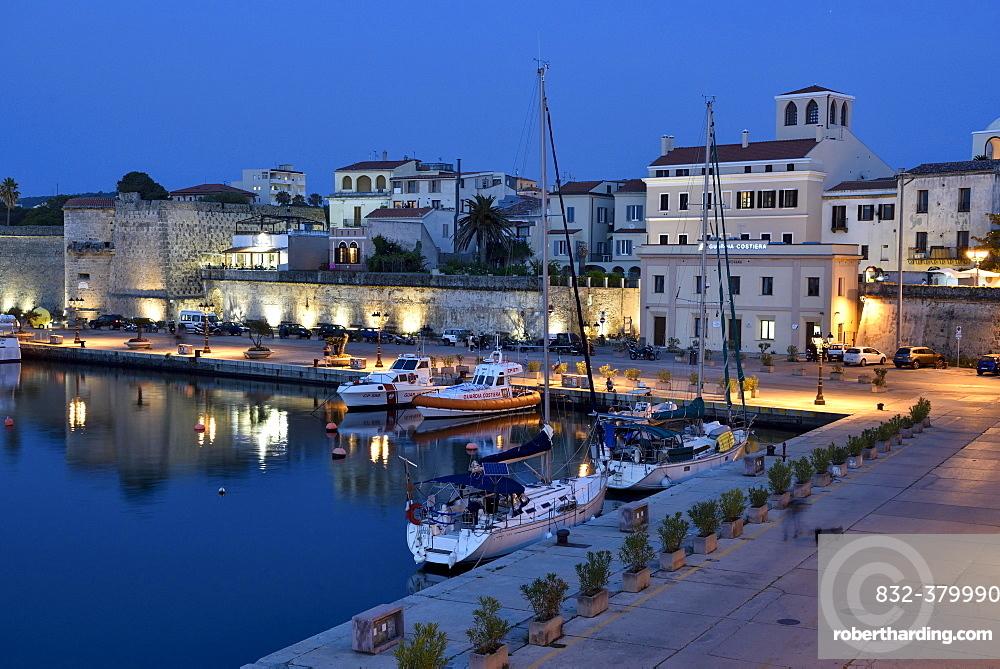 Harbour, blue hour, Alghero, Sassari, Province of Sardinia, Italy, Europe